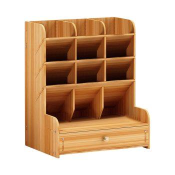 Wooden Desk Organizer Multi-Functional DIY Pen Holder Box Desktop Stationary Home Office Supply Storage Rack Convenient new