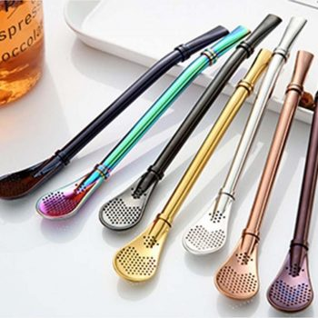 Drinking Straw Stainless Steel Filter Spoons Reusable Metal Tea Accessories