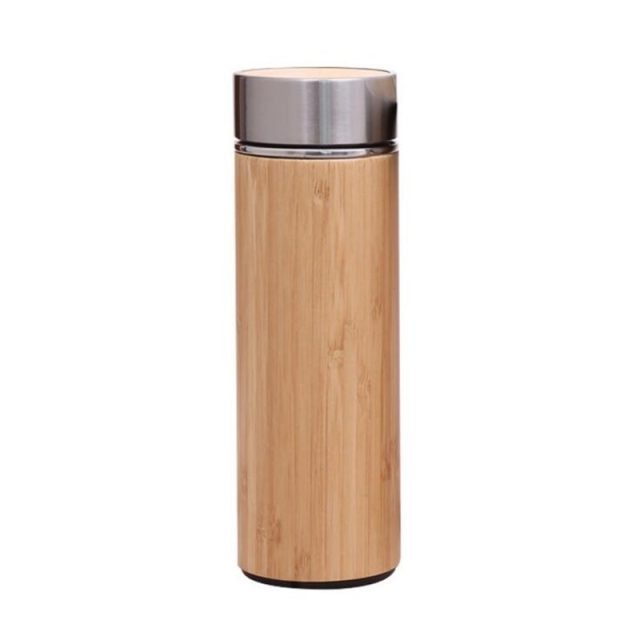 Natural Bamboo Tumbler Stainless Steel Liner Thermos Bottle Vacuum Flasks Insulated Bottles Bamboo Cup For Tea