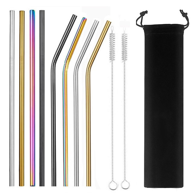 2/4/8Pcs Colorful Reusable Drinking Straw High Quality 304 Stainless Steel Metal Straw with Cleaner Brush For Mugs 20/30oz