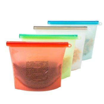 4pcs/set Reusable Vacuum Silicone Food Bag Sealer Freezer Milk Fruit Meat Storage Bags Fridge Food Containers Refrigerat Bags