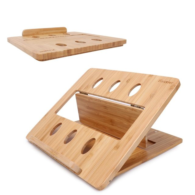 Original Bamboo Foldable Laptop Stand Holder Adjustable Notebook Computer Tablet Home Desk Bed Heat Dissipation Mount