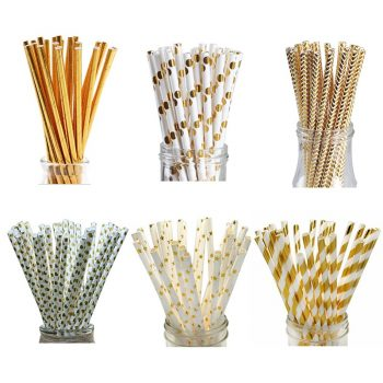 25pcs/set Foil Gold Drinking Paper Straws Birthday Party Wedding Decorative Home Supplies Biodegradable