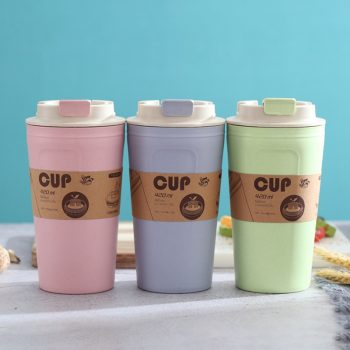 3 Colors Bamboo Fiber Cups Office Travel Coffee Large Capacity Leak Proof Water Bottle