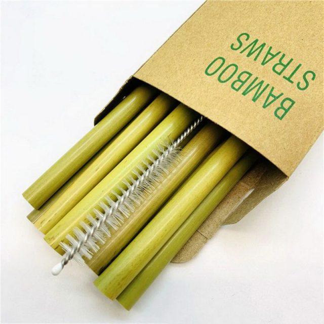 12pcs Eco-Friendly Bamboo Straw Coffee Milktea Kitchen Green Drinkware