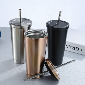 500ml Stainless Steel Coffee Mug with Lid Metal Cup Drink Straw
