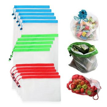 Reusable Mesh Produce Bags Washable Eco Friendly Bags for Grocery Shopping Storage Fruit Vegetable Toys Sundries Bag